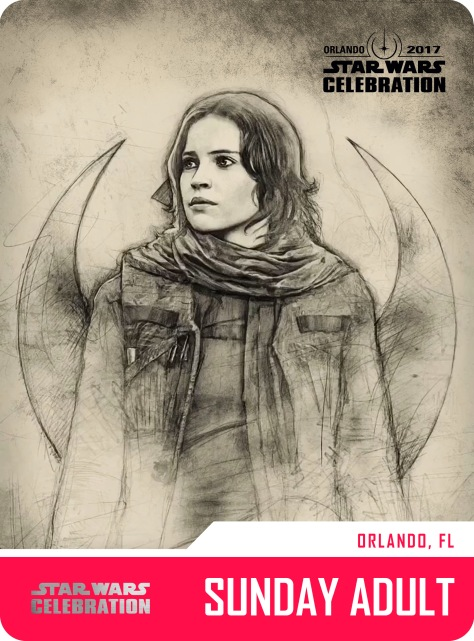 Star Wars Celebration Sunday Adult Pass and Badge Art 2017 Jyn Erso