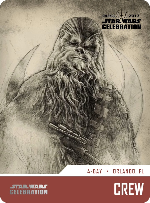 Star Wars Celebration Crew Pass and Badge Art 2017 Chewie