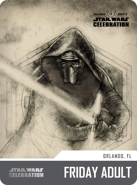 Star Wars Celebration Friday Adult Pass and Badge Art 2017 Kylo Ren