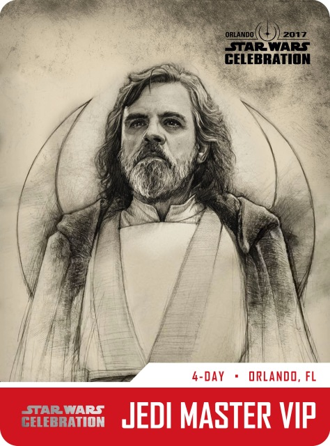 Star Wars Celebration Jedi Master VIP Pass and Badge Art 2017 Luke