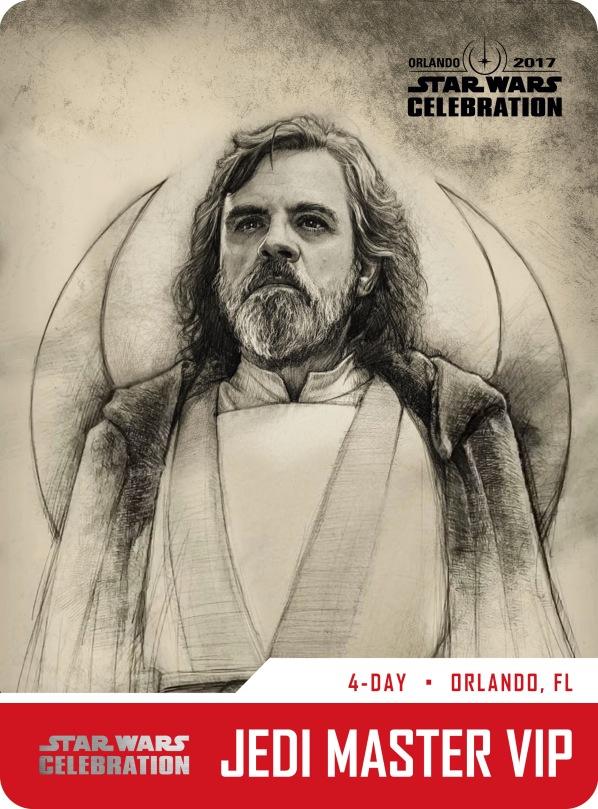 Star Wars Celebration Jedi Master VIP Pass and Badge Art 2017 Luke