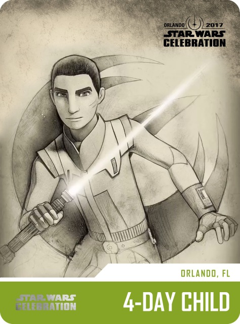 Star Wars Celebration Pass and Badge Art 2017 Ezra 4 Day Child