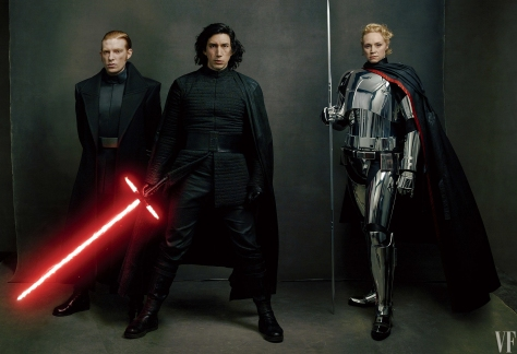 Star Wars The Last Jedi Vanity Fair Photo shoot by Annie Leibovitz Hi Res HD Images First Order leaders General Hux, Kylo Ren, and Captain Phasma, played by Domhnall Gleeson, Adam Driver