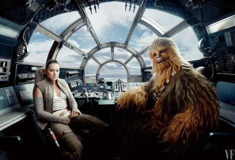 Star Wars The Last Jedi Vanity Fair Photo shoot by Annie Leibovitz Hi Res HD Images Rey and Chewbacca