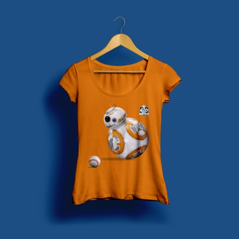 Star Wars Night 2017 Official Ladies Dodgers T-Shirt in Orange