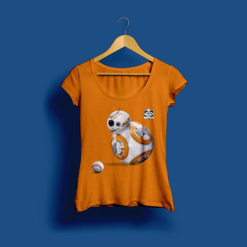 Star Wars Night 2017 Official Ladies Dodgers T-Shirt in Orange