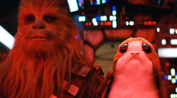 Star Wars The Last Jedi Chewbacca and the Porgs Movie Still
