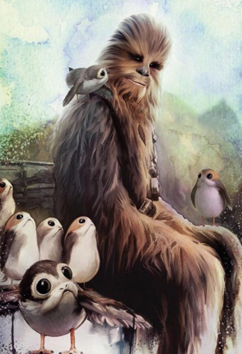 Star Wars The Last Jedi New Promotional Art of Chewbacca and the Porgs