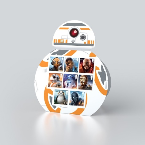 Star Wars Royal Mail UK Stamps 2017 Droids & Aliens BB-8 Display Stand