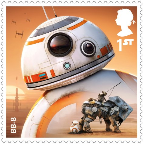 Star Wars Royal Mail UK Stamps 2017 Droids and Aliens BB-8 The Force Awakens Large Hi-Res