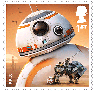 Star Wars Royal Mail UK Stamps 2017 Droids and Aliens BB-8 The Force Awakens