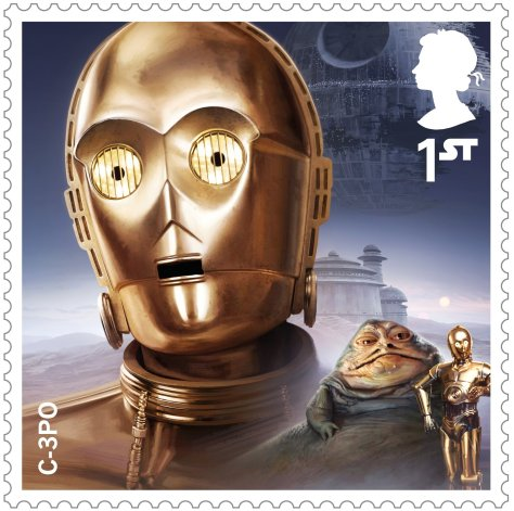 Star Wars Royal Mail UK Stamps 2017 Droids & Aliens C-3PO Return of the Jedi Large Hi-Res