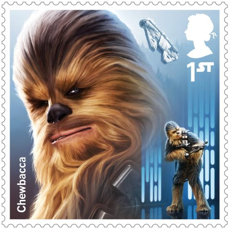 Star Wars Royal Mail UK Stamps 2017 Droids and Aliens Chewbacca Star Wars - Large Hi-Res