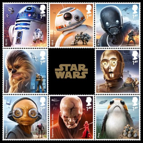 Star Wars Royal Mail UK Stamps 2017 Droids and Aliens Large Hi-Res