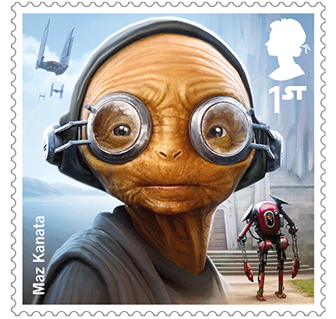 Star Wars Royal Mail UK Stamps 2017 Droids and Aliens Maz Kanata The Force Awakens