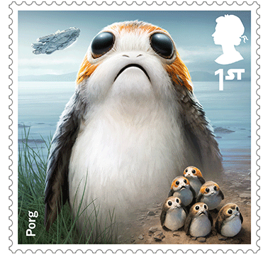 Star Wars Royal Mail UK Stamps 2017 Droids and Aliens Porg The Last Jedi
