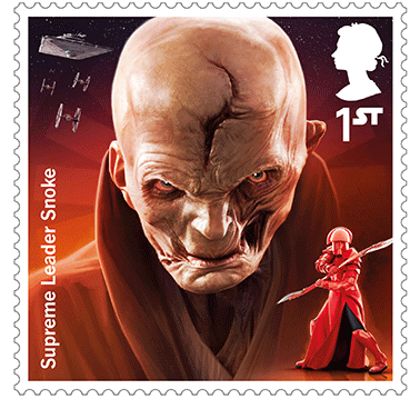 Star Wars Royal Mail UK Stamps 2017 Droids and Aliens Supreme Leader Snoke