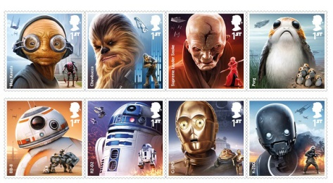 Star Wars Royal Mail UK Stamps 2017 Droids & Aliens