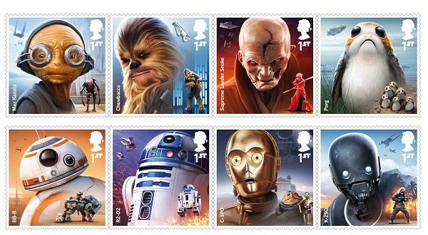 Star Wars Royal Mail Stamps 2017 – Droids and Aliens