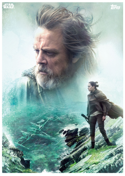 Star Wars The Last Jedi Topps Cards Luke and Rey and the X-Wing