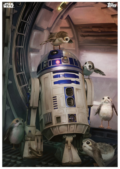 Star Wars The Last Jedi Topps Cards R2-D2 and the Porgs