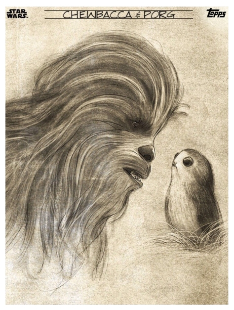 Star Wars The Last Jedi Graphite Topps Cards Chewbacca and Porg