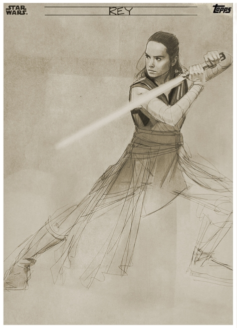 Star Wars The Last Jedi Graphite Topps Cards - Rey