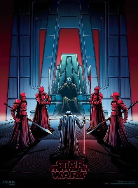 the last jedi dan mumford imax posters 4 of 4 Snoke Throne Room Kylo Ren and Snoke with the Praetorian Guard
