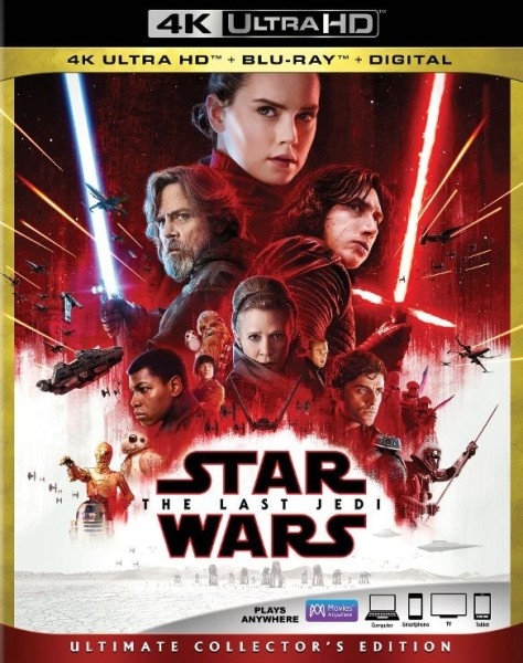 Star Wars The Last Jedi Best Buy 4K Ultra HD Blu Ray Digital Packaging Cover
