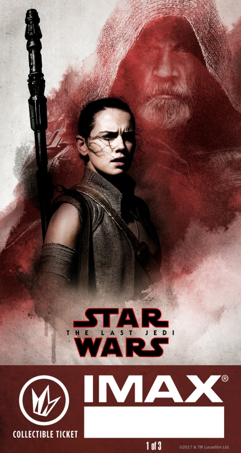 Star Wars The Last Jedi IMAX Regal Collectible Ticket No 1 - Luke and Rey