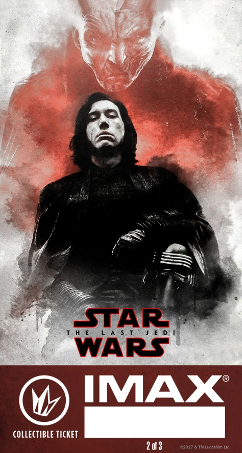 Star Wars The Last Jedi IMAX Regal Collectible Ticket No 2 - Snoke and Kylo Ren