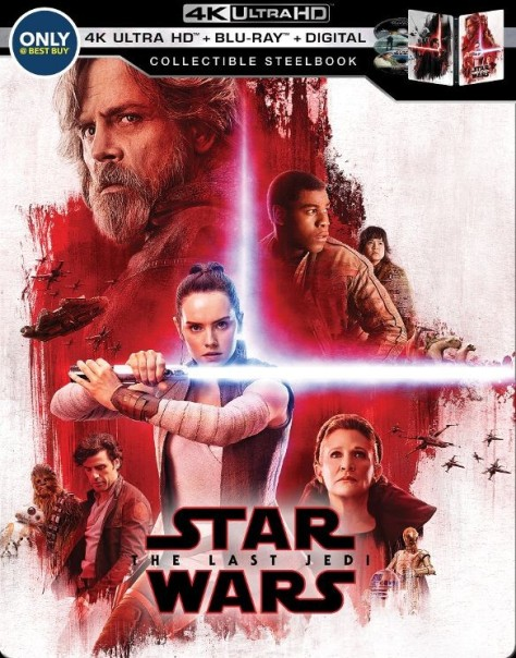 Star Wars The Last Jedi Steelbox Best Buy 4K Ultra HD Blu Ray DVD Digital Packaging Cover