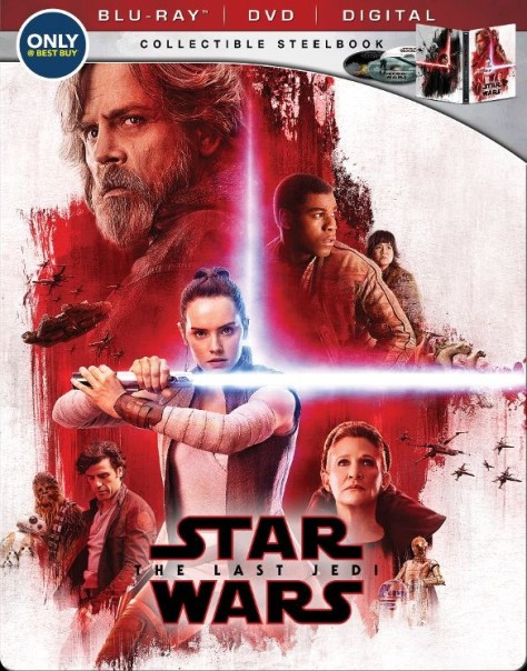 Star Wars The Last Jedi Steelbox Best Buy Blu Ray DVD Digital Packaging Cover