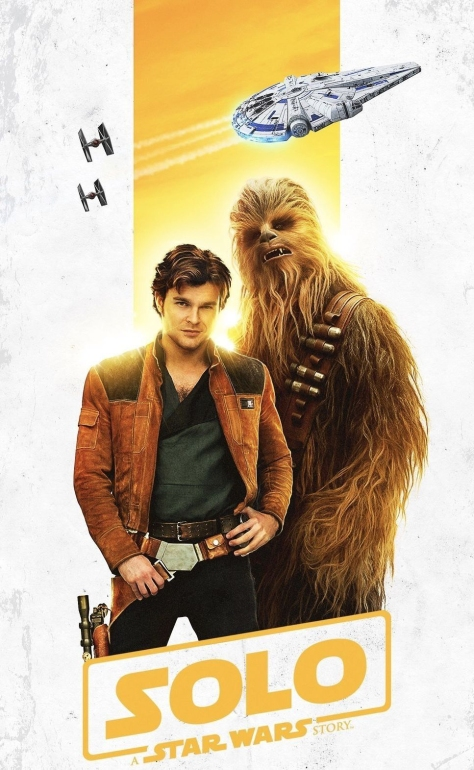 Solo A Star Wars Story Film Poster Han Chewie and the Millennium Falcon