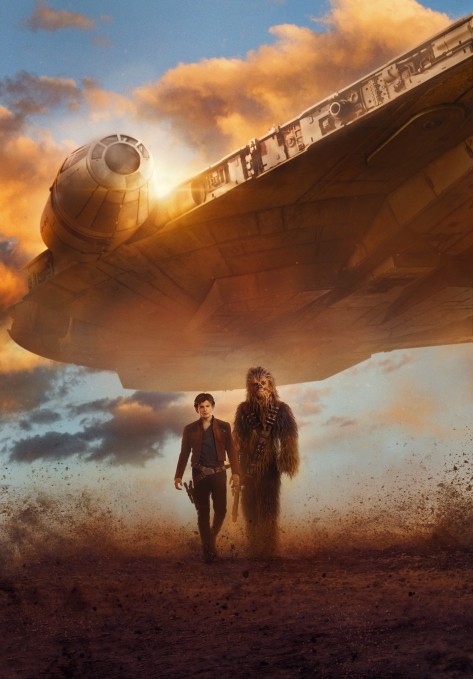 Solo A Star Wars Story Textless Film Poster Han Chewie and the Millennium Falcon Ultra Hi Res