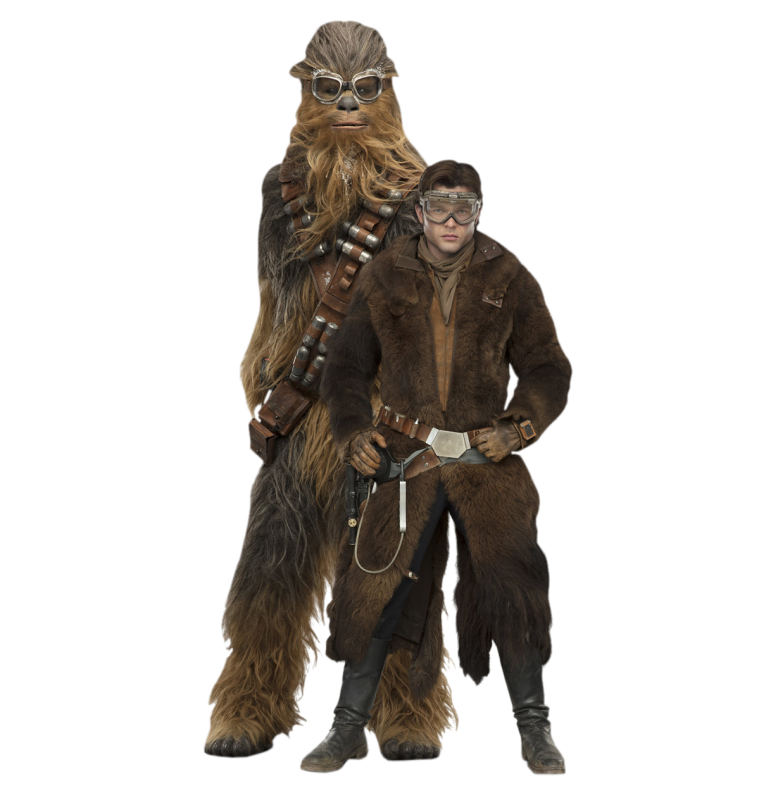 Han and Chewie Solo A Star Wars Story Cut Out Characters with Transparent Background PNG