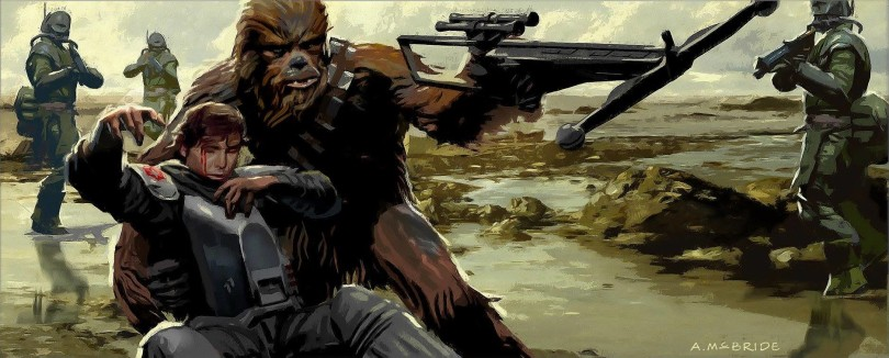 Solo A Star Wars Story Deleted Scene Concept Art - by Aaron McBride - Han and Chewie Battle of Mimban - No 1