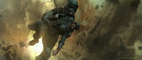 Solo A Star Wars Story Deleted Scene Concept Art - by Aaron McBride - Han and Chewie Battle of Mimban - No 3