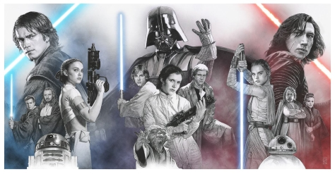 Lucasfilm Comic Con 2018 Exclusive Star Wars Skywalker Family Poster by Russell Walks