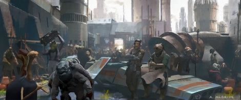 SOLO A Star Wars Story. Early Concept Art of Street Life on Corellia by Aaron McBride