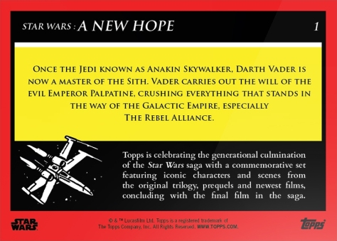 Darth Vader _ Star Wars Galactic Moments Countdown to Episode 9 _ Card 1 Back _ Print Run 566