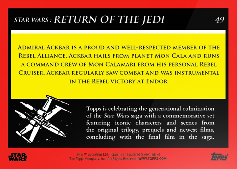 Admiral Ackbar _ Star Wars Galactic Moments Countdown to Episode 9 The Rise of Skywalker_ Week 17 Card 49 Back