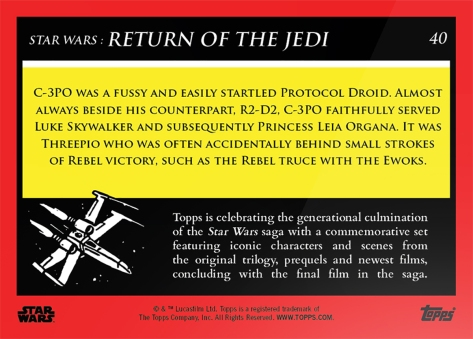 C-3PO _ Star Wars Galactic Moments Countdown to Episode 9 The Rise of Skywalker_ Week 14 Card 40 Back