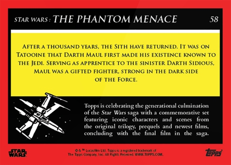 Darth Maul _ Star Wars Galactic Moments Countdown to Episode 9 The Rise of Skywalker_ Week 20 Card 58 Back