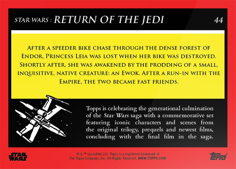 Leia meets Wicket _ Star Wars Galactic Moments Countdown to Episode 9 The Rise of Skywalker_ Week 15 Card 44 Back