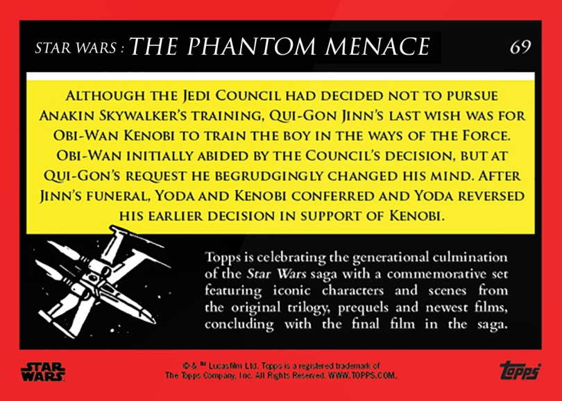 Obi-Wan Promises to Train Anakin _ Star Wars Galactic Moments Countdown to Episode 9 The Rise of Skywalker_ Week 23 Card 69 Back