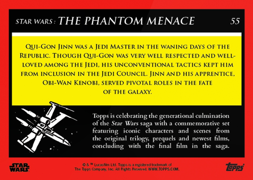 Qui-Gon Jinn _ Star Wars Galactic Moments Countdown to Episode 9 The Rise of Skywalker_ Week 19 Card 55 Back