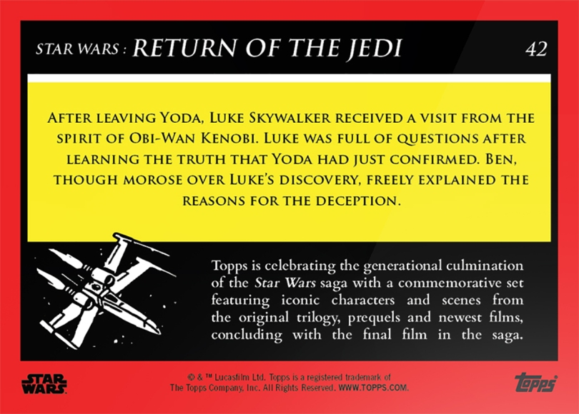 Speaking with Ben _ Star Wars Galactic Moments Countdown to Episode 9 The Rise of Skywalker_ Week 14 Card 42 Back