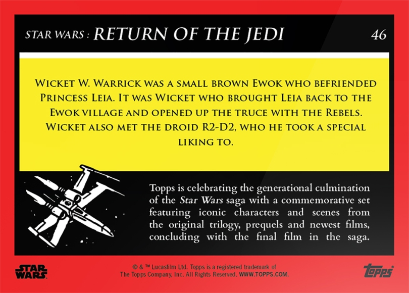 Wicket W Warrick _ Star Wars Galactic Moments Countdown to Episode 9 The Rise of Skywalker_ Week 16 Card 46 Back