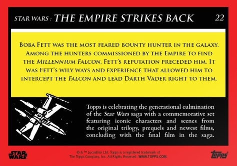 Boba Fett _ Star Wars Galactic Moments Countdown to Episode 9 _ Week 8 Card 22 Back